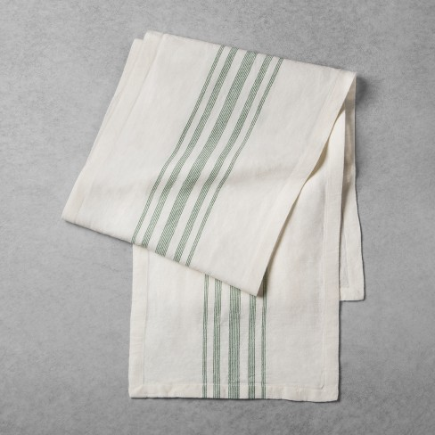 Striped Woven Table Runner Cream Green Hearth Hand With Magnolia