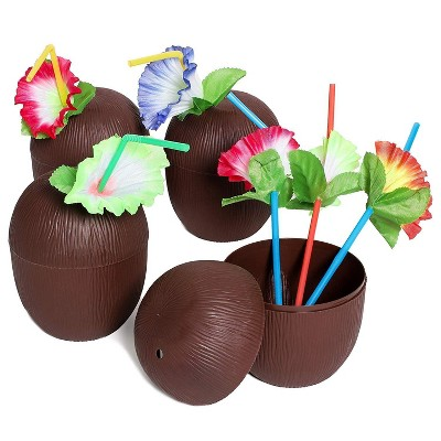 12-Pack Juvale Coconut Cups with Straws & Hawaiian Hibiscus Flower Decorate, 16oz Food Grade PVC Cup, Ideal for Tropical Luau Party Supplies