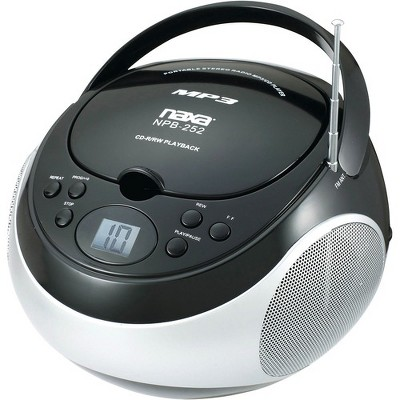 Naxa Portable MP3/CD Player with AM/FM Stereo Radio - 1 x Disc - 2.40 W Integrated Stereo Speaker - Black - CD-DA, MP3 - Auxiliary Input