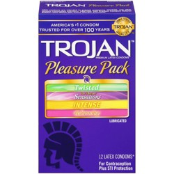 Trojan Pleasure Pack Lubricated Condoms - 12ct