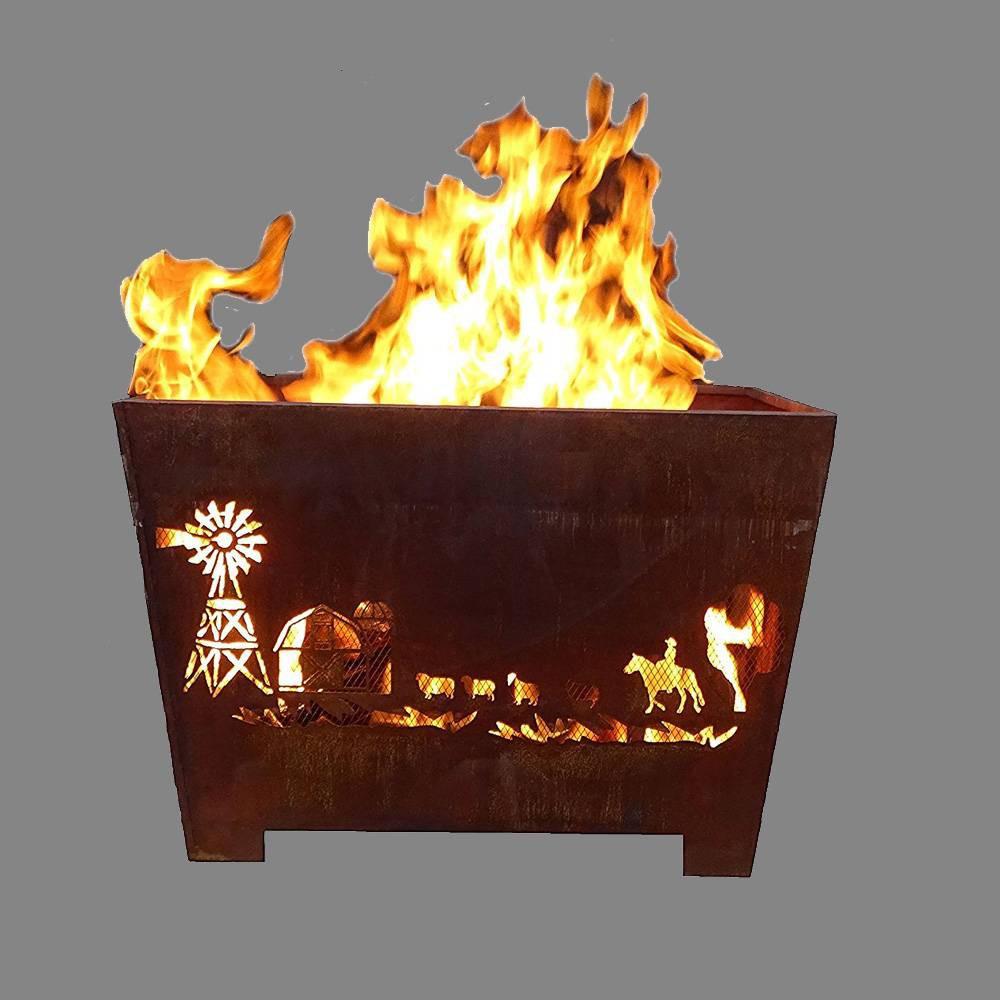 Image of Laser Cut Farm Fire Basket Bronze - Esschert Design
