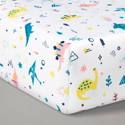 Fitted Crib Sheet Dinos Warm/Pink - Cloud Island™ Pink/Teal