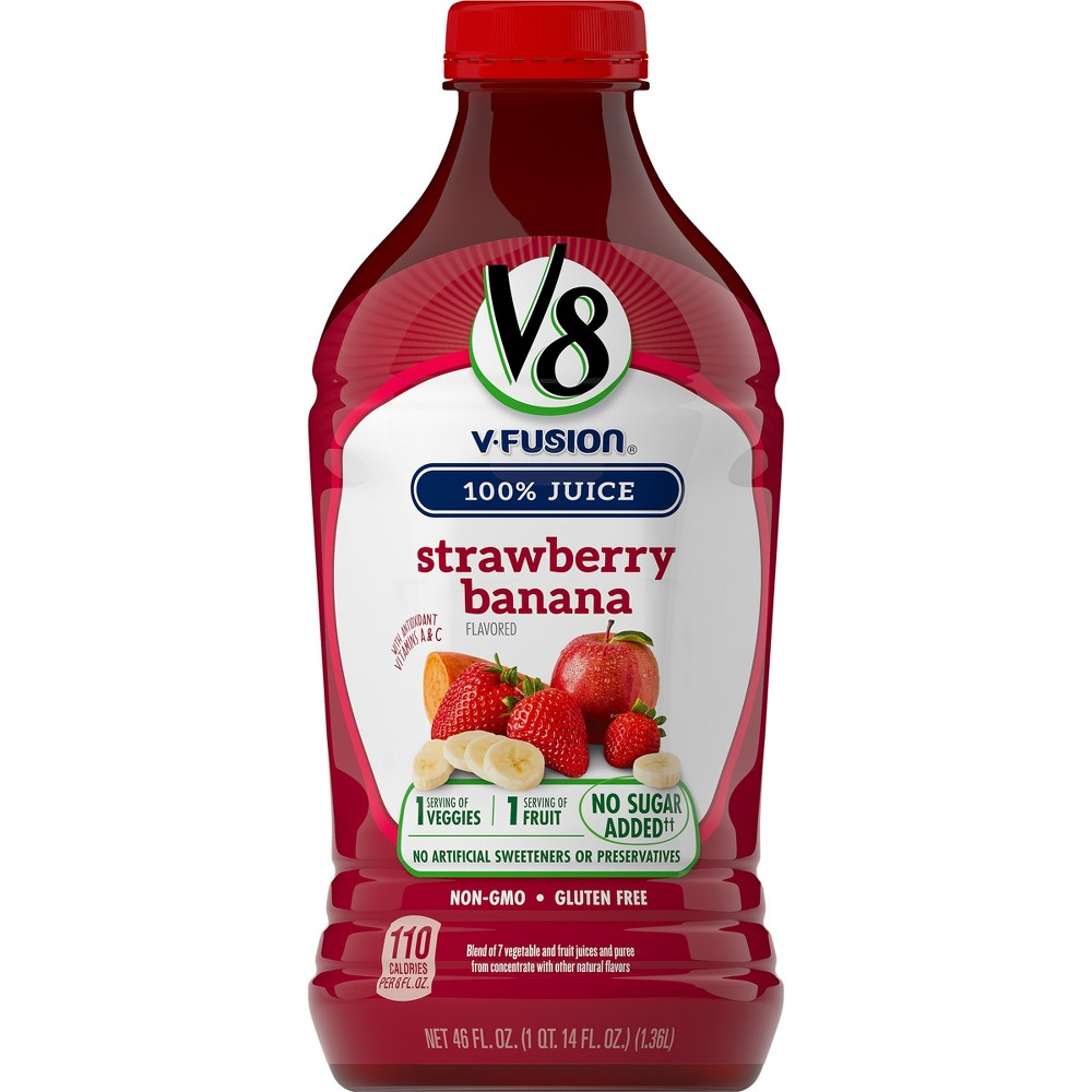 V8 V-Fusion Strawberry Banana Vegetable & Fruit Juice - 46 fl oz Bottle