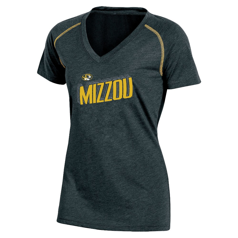 NCAA Women's Workout Warrior V-Neck Mesh Back Performance Soft-Touch T-Shirt Missouri Tigers - L, Multicolored