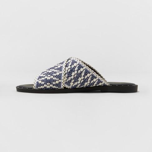 23625345629d Women s Kyleigh Wide Width Cross Band Slide Sandals - Universal Thread™  Navy 8W   Target