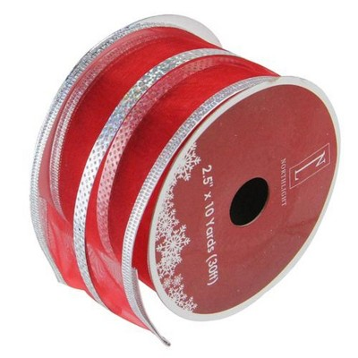 """Northlight Red and Silver Striped Christmas Wired Craft Ribbon 2.5"""" x 10 Yards"""