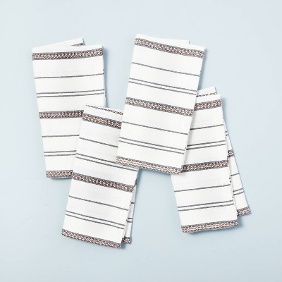 4pc Seasonal Stripes Woven Napkin Set Gray/Pumpkin Brown - Hearth & Hand™ with Magnolia