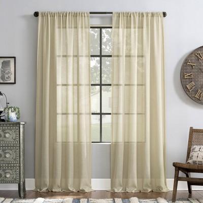 Slub Textured Linen Blend Light Filtering Curtain Panel - Archaeo