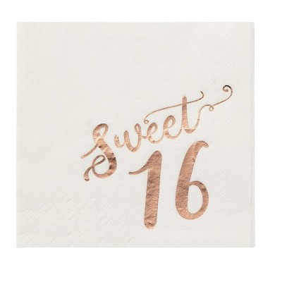 """Blue Panda 50 Pack Rose Gold Foil Sweet 16 16th Birthday Disposable Paper Napkins 5.5"""" Party Supplies"""