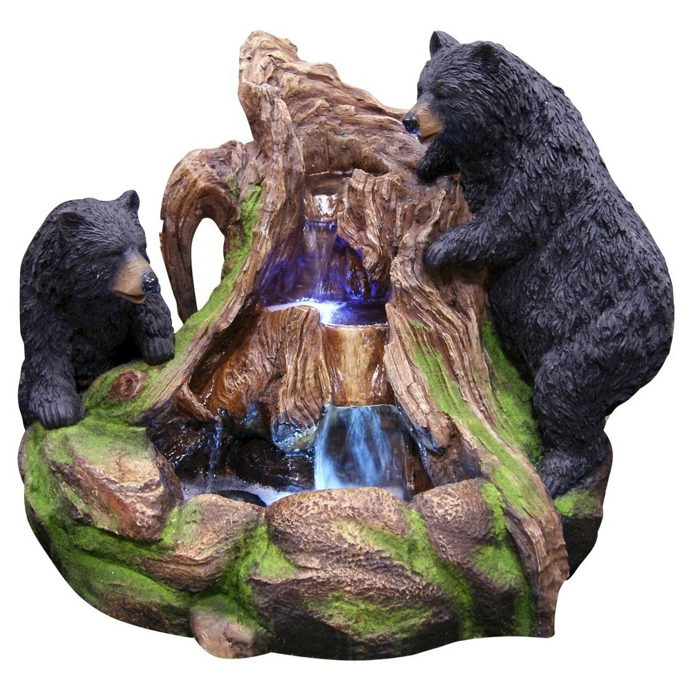 """Image of """"Alpine Corporation 24"""""""" 2 Bears Climbing On Rainforest Fountain With LED Lights - Multi Color"""""""