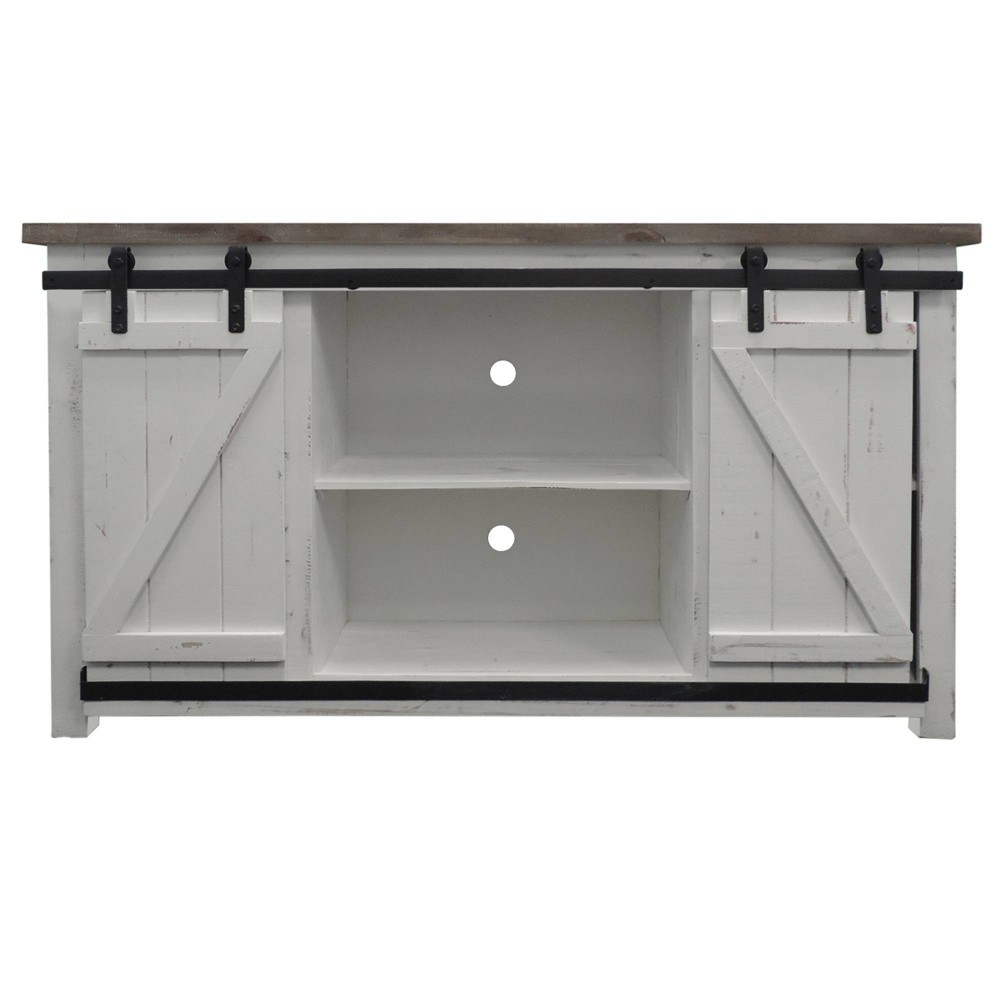 69 34 Wooden Media Console With Barn Style Sliding Door Brown White The Urban Port
