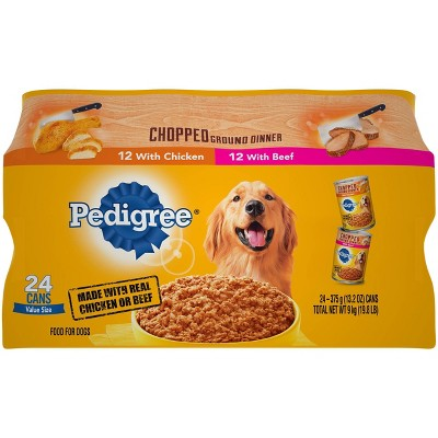 Pedigree Chopped Ground Dinner Multipack Beef & Chicken Canned - Wet Dog Food