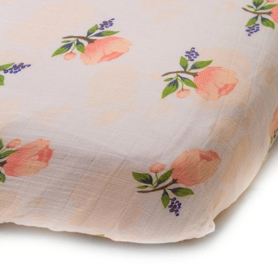 Little Unicorn Fitted Crib Sheet - Watercolor Rose