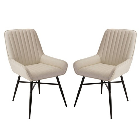 Set of 2 Mid Century Modern Leatherette Dining Chair Cream - Glitzhome - image 1 of 9