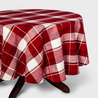 70 R Multi Plaid Tablecloth Red/White - Threshold™