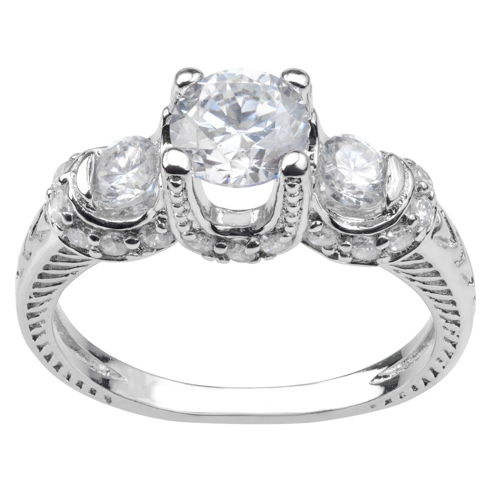1 1/2 CT. T.W. Round-cut Cubic Zirconia 3-stone Engagement Prong Set Ring in Sterling Silver - Silver, 8