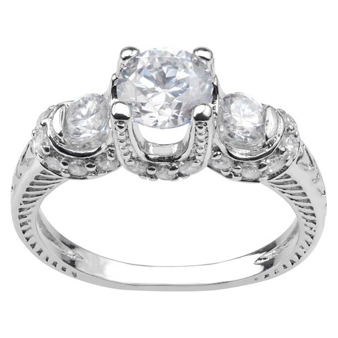 1 1/2 CT. T.W. Round-cut Cubic Zirconia 3-stone Engagement Prong Set Ring in Sterling Silver - Silver - image 1 of 2