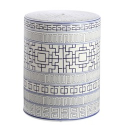 Parri Garden Stool - Blue/White - Safavieh