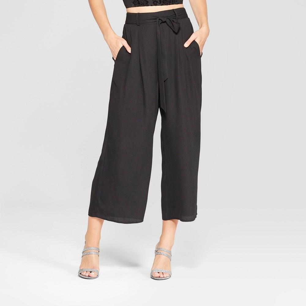 Women's Wide Leg Tie Front Cropped Pants - Xhilaration Black XL
