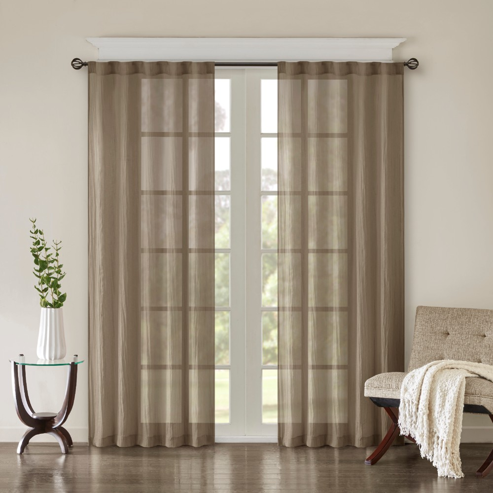 Avery Solid Crushed Window Panel Pair Taupe (Brown) 42x84