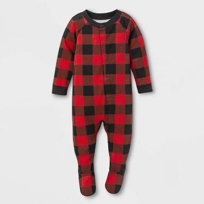 Baby Holiday Buffalo Check One Piece Pajamas - Wondershop™ Red 3-6M