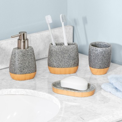 4pc Speckled Bathroom Set Gray - Honey Can Do