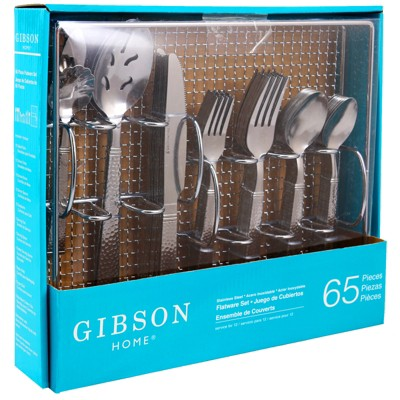 Gibson Home Prato 65 Piece Flatware Set Trumble Finish with Wire Caddy