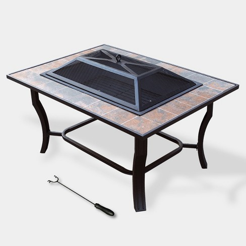 Rectangle Ceramic Tile Fire Pit - Copper - Leisurelife - image 1 of 4