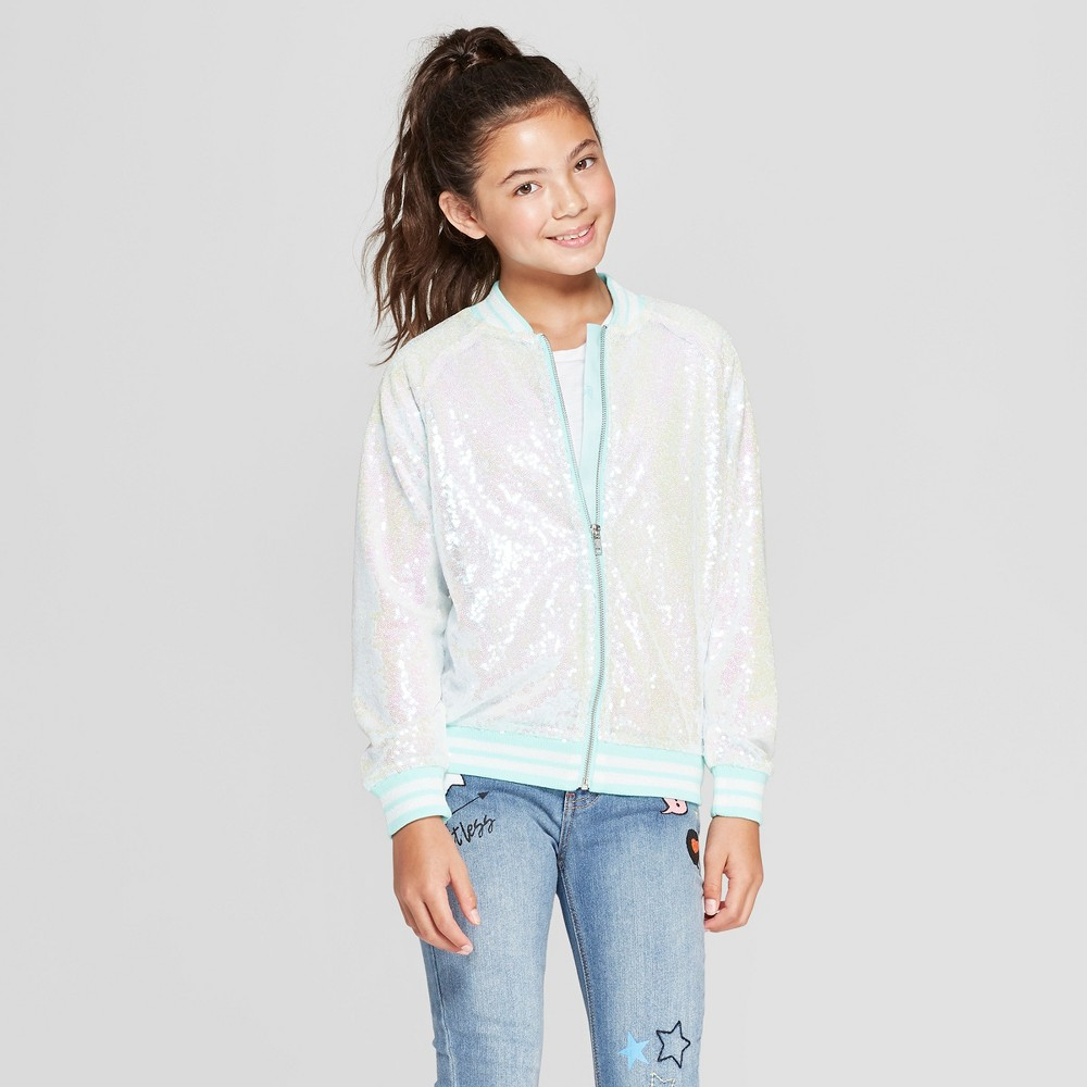 Girls' Disney Princess Ariel Flounder Sequin Bomber Jacket - Ivory/Aqua Blue L, Green