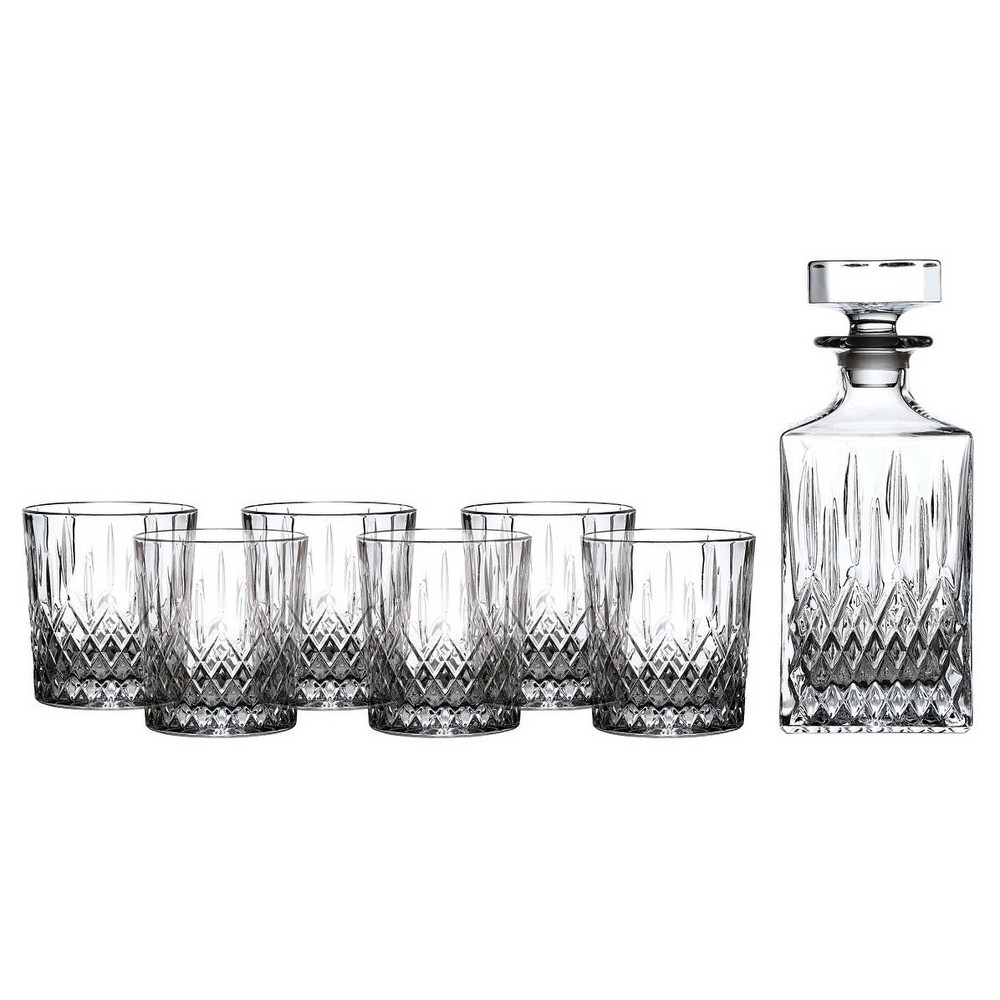 Royal Doulton Earlswood 5pc Whiskey Decamter and Tumblers Set, Light Clear