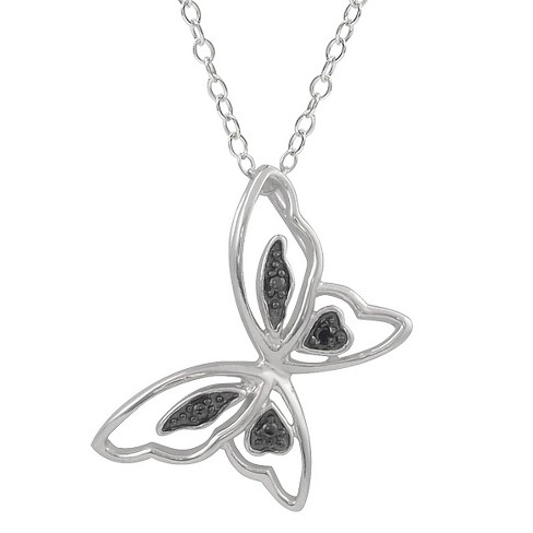 1/10 CT. T.W. Round-cut Diamond Pave-set High Polished Butterfly Necklace in Sterling Silver - Black - image 1 of 2