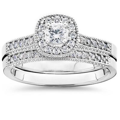 Pompeii3 5/8Ct Diamond Bridal Vintage Engagement Ring Set 10K White Gold