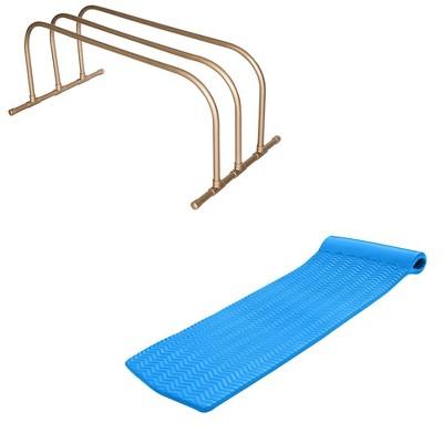 TRC Recreation PVC Pool Float Storage Drying Rack w/ 70 Inch Foam Lounger Blue
