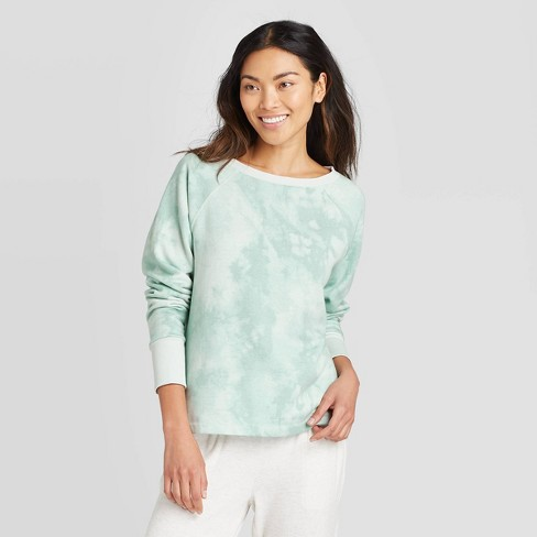 Women's Tie-Dye Print Beautifully Soft Fleece Lounge Sweatshirt - Stars Above™ Mint - image 1 of 2