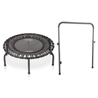 JumpSport 220 In Home Cardio Fitness Rebounder - Mini Trampoline with Handle Bar Accessory, Premium Bungees and Workout DVD