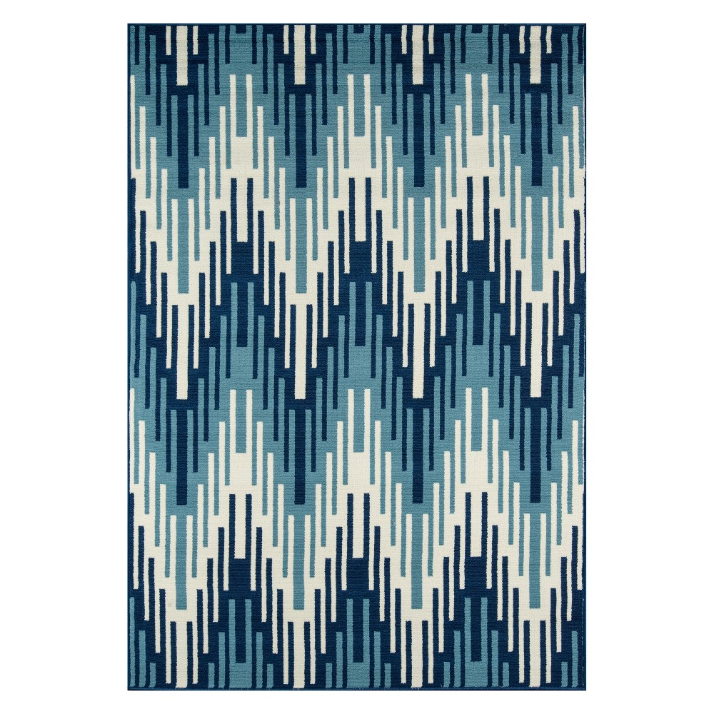 Zig Zag Loomed Accent Rug Blue