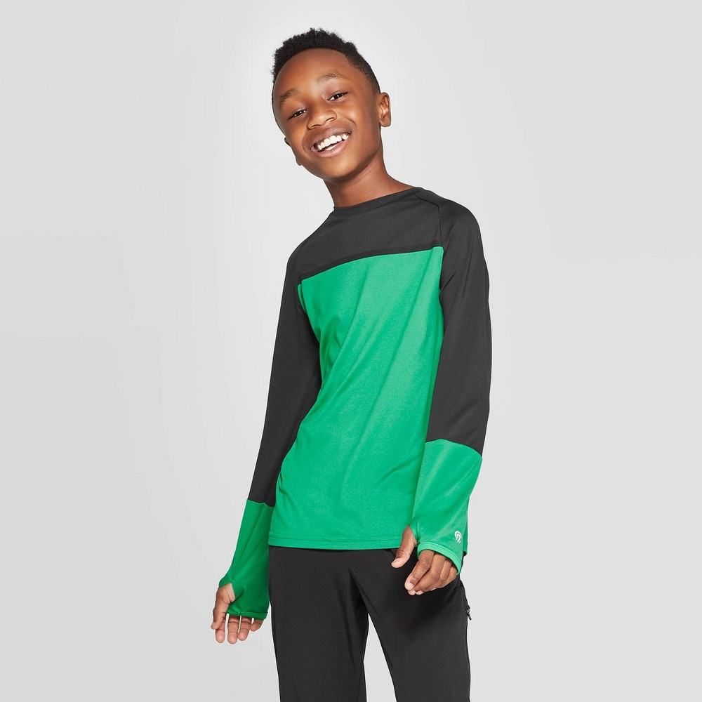 Image of Boys' Color Blocked Long Sleeve T-Shirt - C9 Champion Green L, Boy's, Size: Large