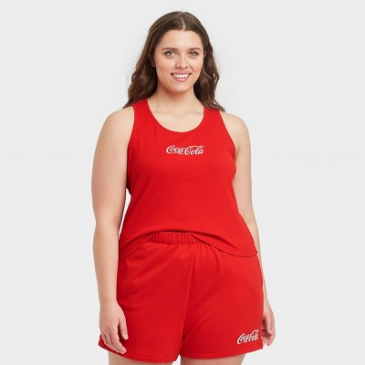 Women's Coca Cola Ribbed Graphic Tank Top - Red