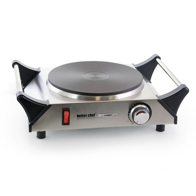 Better Chef Portable Stainless Steel Solid Element Single Electric Burner