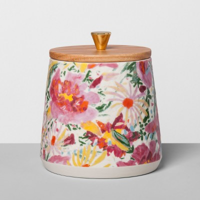 Floral Stoneware Canister with Wood Lid M Pink - Opalhouse™