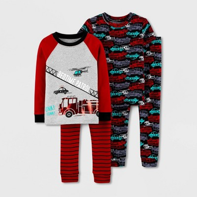 Baby Boys' 4pc Firetruck 100% Cotton Long Sleeve Pajama Set - Just One You® made by carter's Red 9M
