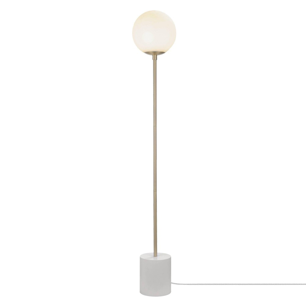 63 34 Celestia Floor Lamp With Frosted Glass Shade White Globe Electric