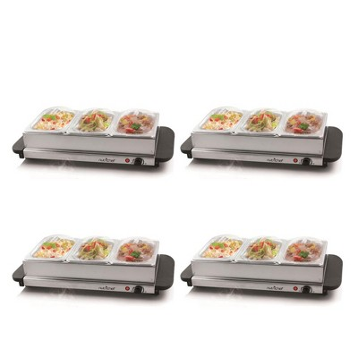 NutriChef Portable 3 Pot Electric Hot Plate Buffet Warmer Chafing Serving Dish with Clear Lids for Restaurants, Hotels, and Parties (4 Pack)