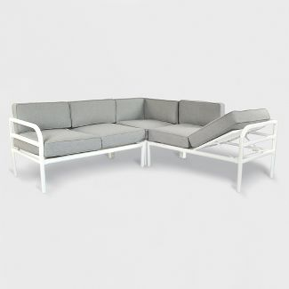 3pc Beacon Hill Patio Sectional with Chaise Feature Gray/White - Project 62™