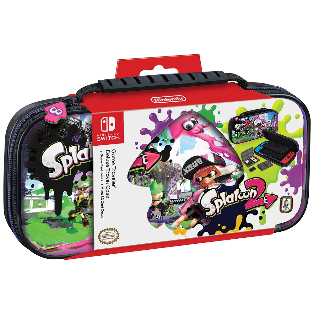 Nintendo Switch Game Traveler Deluxe Splatoon 2 Travel Case, Multi-Colored Deluxe Travel Case with Splatoon 2 image, Gray Transparent Game Card Case - 2pcs Color: Multi-Colored. Pattern: Fictitious character.
