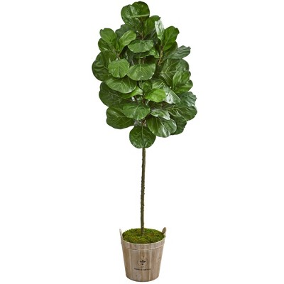 6.5' Artificial Fiddle Leaf Tree in Farmhouse Planter Green - Nearly Natural