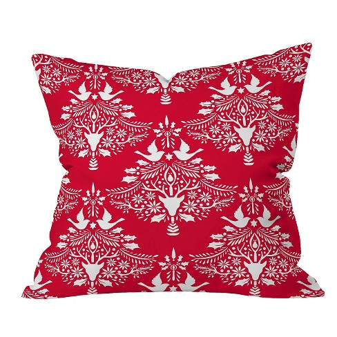 "Red Nature Jacqueline Maldonado Christmas Paper Cutting Red Throw Pillow (16""x16"") - Deny Designs® - image 1 of 1"