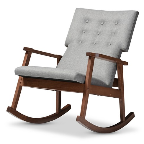 Pleasing Agatha Mid Century Modern Fabric Upholstered Button Tufted Rocking Chair Gray Baxton Studio Machost Co Dining Chair Design Ideas Machostcouk