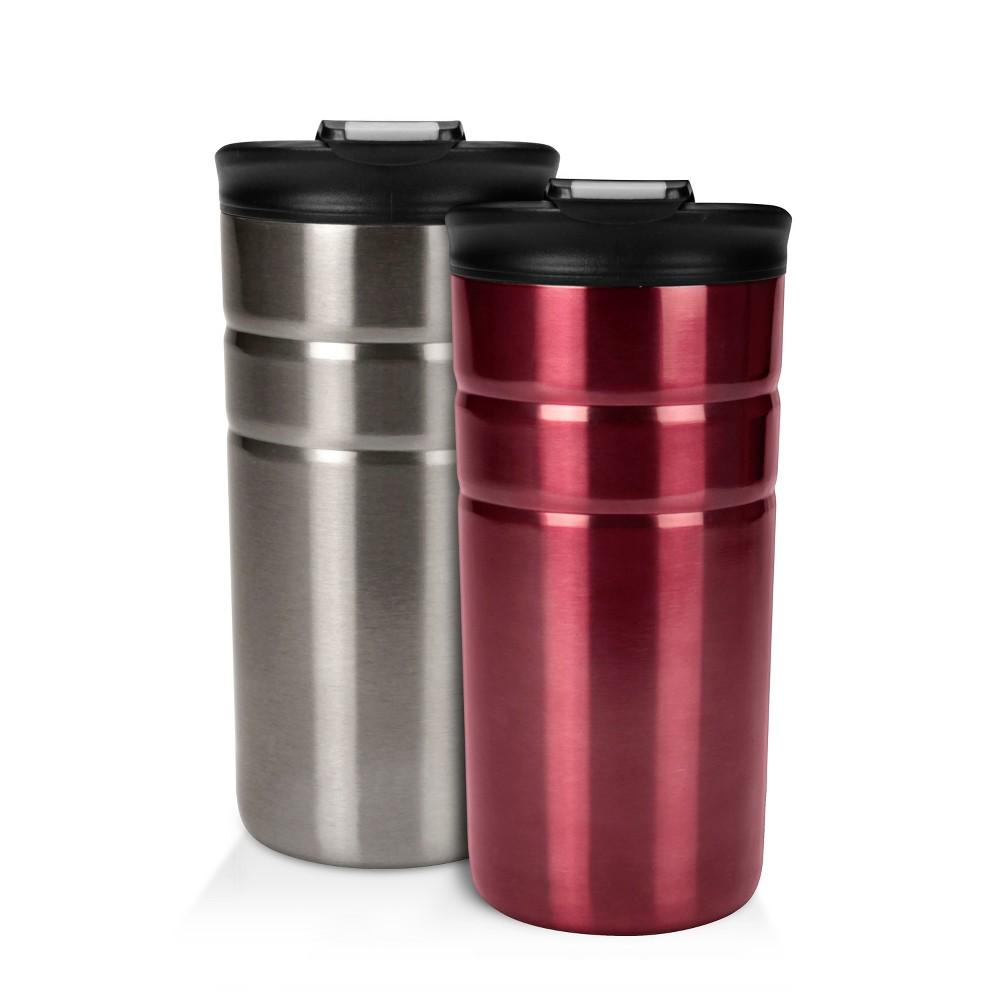 Contigo Bueno 12oz 2pk Vacuum-Insulated Stainless Steel Travel Mug with Flip Lid Gray/Red, Red/Gray