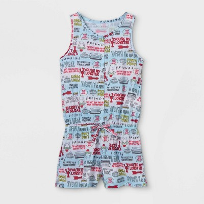 Girls' Friends You're My Lobster Pajama Romper - Blue